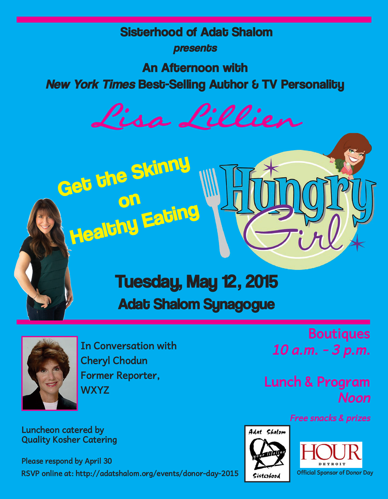 Adat Shalom Donor-Day-2015 Featuring Hungry Girl Lisa Lillian