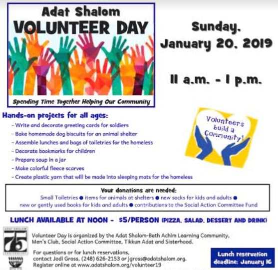 Volunteer Day Adat Shalom 2019